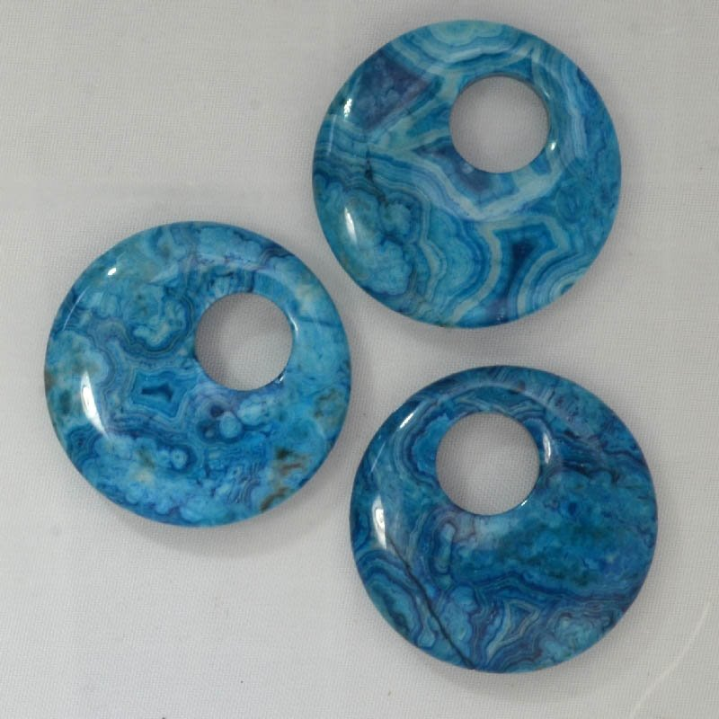 s44032 Stone Beads - 45 mm Gogo Donuts - Blue Crazy Lace Agate (Dyed) (1)