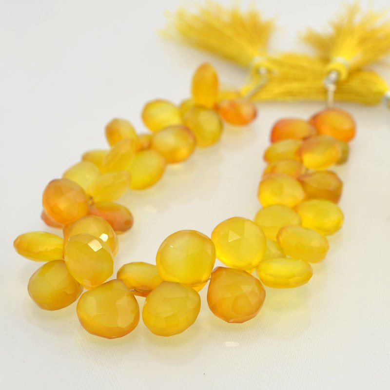 s44063 Stone Beads -  Faceted Pear Drops - Lemon Chrysoprase (strand)