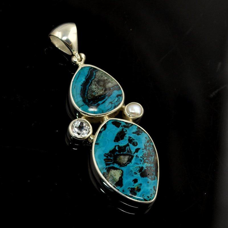 s44086 Stone Pendant - OOAK - Sterling Pendant with WT / Pearl - Arizona Blue Lightning Chrysocolla
