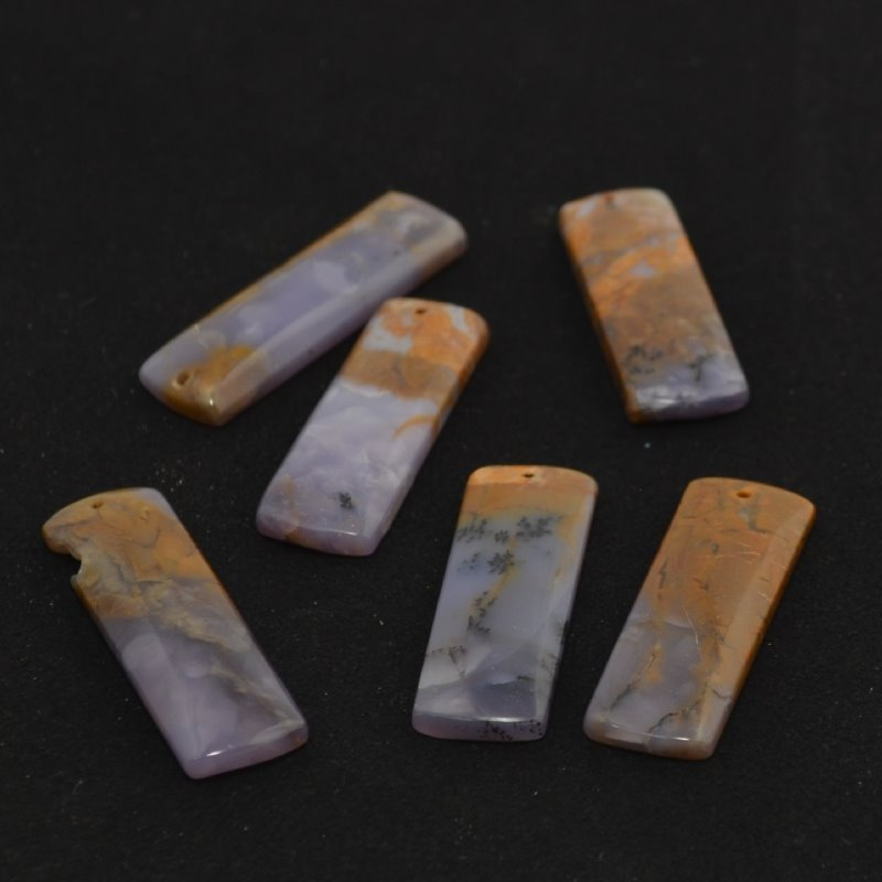 s44141 Stone -  Rectangle Pendant - Amethyst Sage Chalcedony (1)