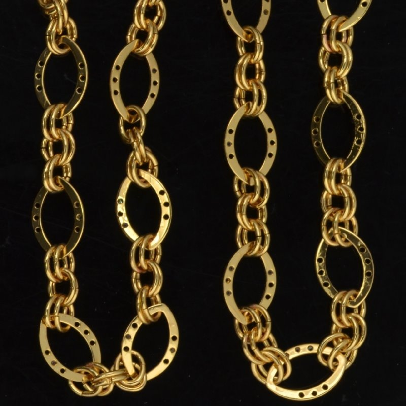 s44174 Chain -  Triple Threat - Bright Gold Plated (foot)