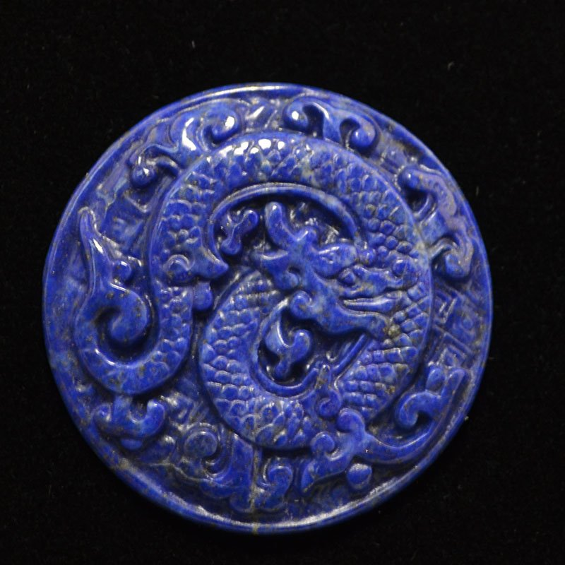 s44225 Stone Cabochon - 42 mm Carved Dragon Round Cabochon - Lapis (1)