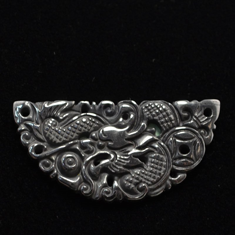 s44228 Stone Cabochon -  Carved Dragon Half Round Cabochon - Hematite (1)