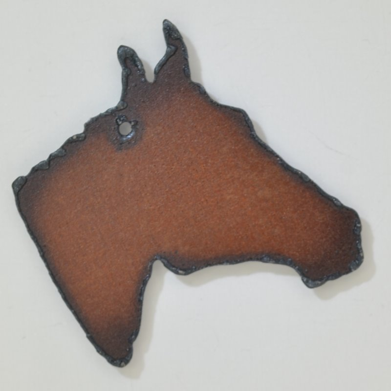 s44371 Stamped Metal Components - Large Quarter Horse Head - Rusted Iron (1)