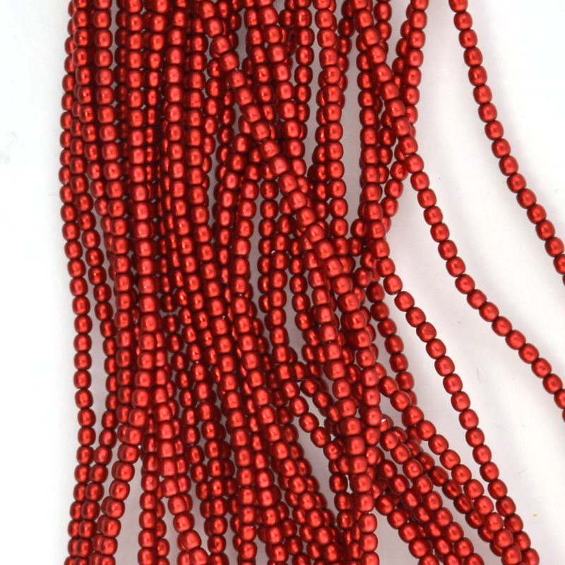 s44393 Glass Pearls - 2 mm Round - Matte Orange Red Satin (strand 150)