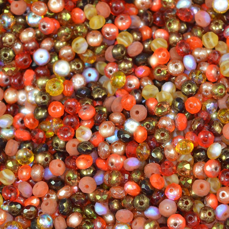 s44944 BeadFX Bead Mix - 3 x 5 mm Firepolish Donuts - Exotic Spice (tube)