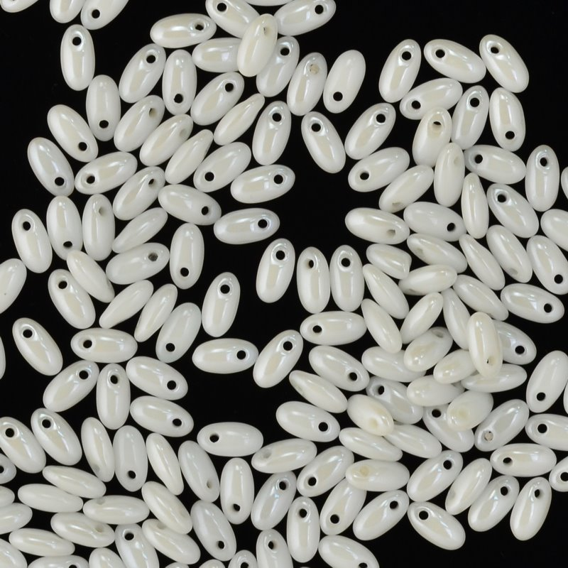 s45038 Czech Seedbeads -  Rizos - Chalk White Shimmer