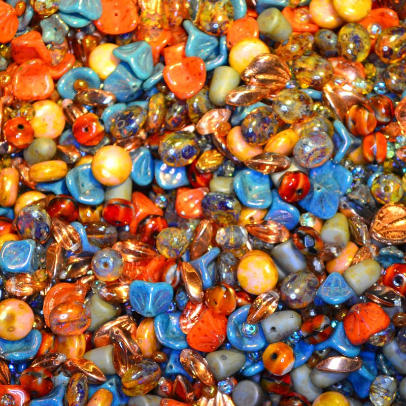 s45073 BeadFX Bead Mix -  Czech Glass and Firepolish Mix - Ginger Snaps (Pack)