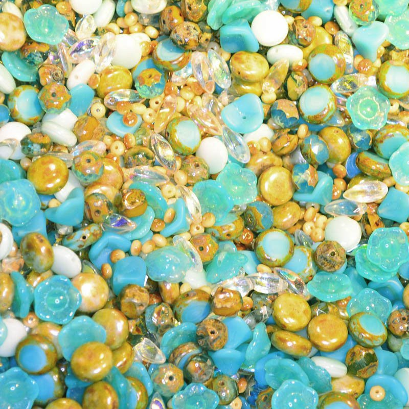 s45076 BeadFX Bead Mix -  Czech Glass and Firepolish Mix - Sand Dunes (Pack)