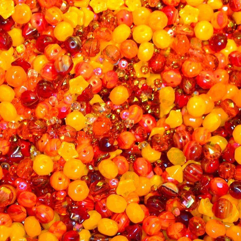 s45077 BeadFX Bead Mix -  Czech Glass and Firepolish Mix - Hawaii Heat (Pack)