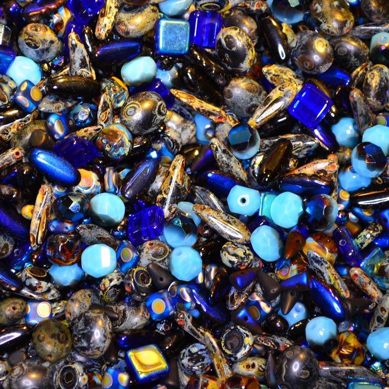 s45078 BeadFX Bead Mix -  Czech Glass and Firepolish Mix - Blue Desire (Pack)