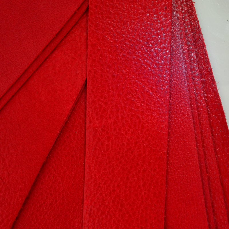 s45224 Leather - 2 x 10 inch Leather Strip - Cardinal Red (1)