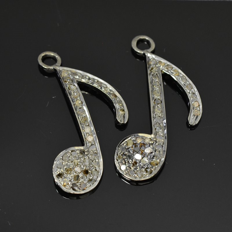 s45263 Diamond Pendant - Big Musical Note Pendant - Coloured Diamonds / Gunmetal