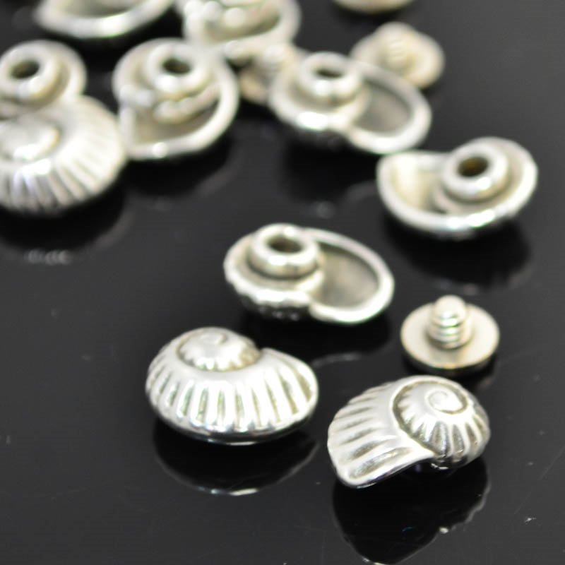 s45533 Findings - Leather -  Nautilus - Screw / Nut Set - Antiqued Silver (2)