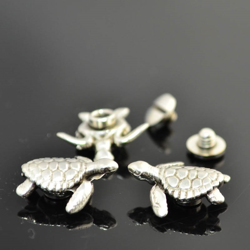 s45536 Findings - Leather -  Sea Turtle - Screw / Nut Set - Antiqued Silver (2)