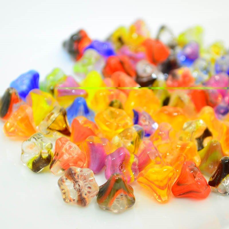 s45561 Glass Flowers - 9 x 10 mm Bellflowers - Garden Mix (25)