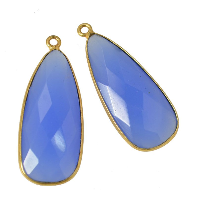 s45585 Stone Pendant - 28 mm Faceted Drop - Blue Chalcedony