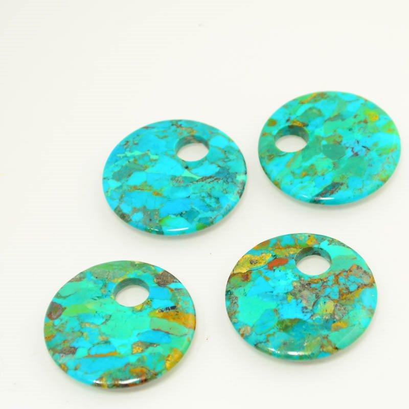 s45610 Stone -  Go Go Donut Pendant - Pressed Turquoise (1)