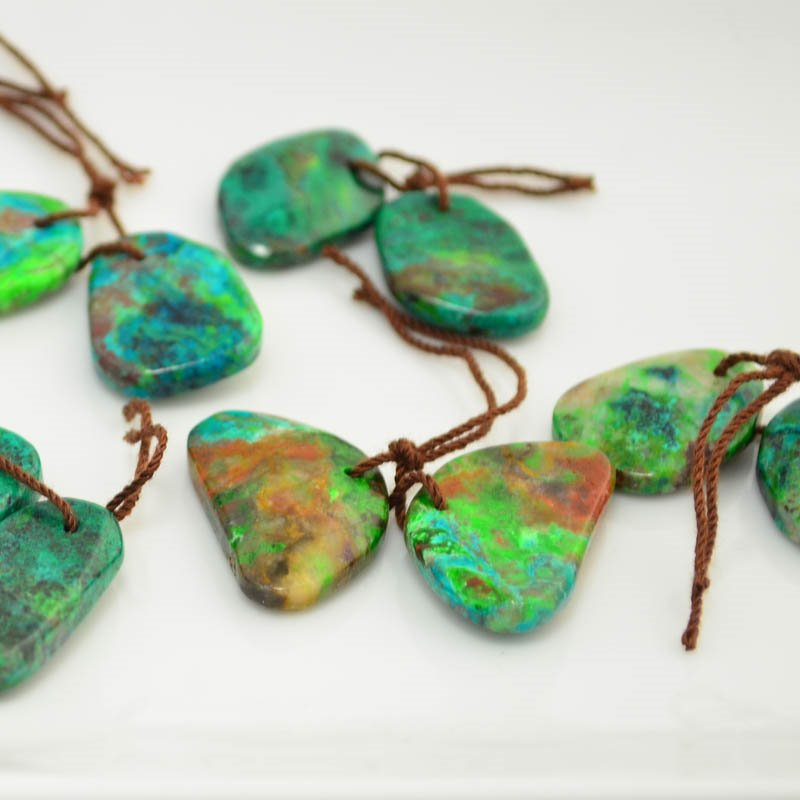 s45616 Stone -  Random Drop Pendant Pairs - Parrotwing Chrysocolla (Pair)