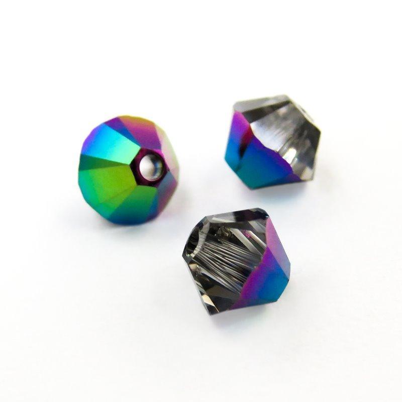s46048 Swarovski Bead - 4 mm Faceted Xilion Bicone (5328) - Crystal Scarabaeus Green (36)