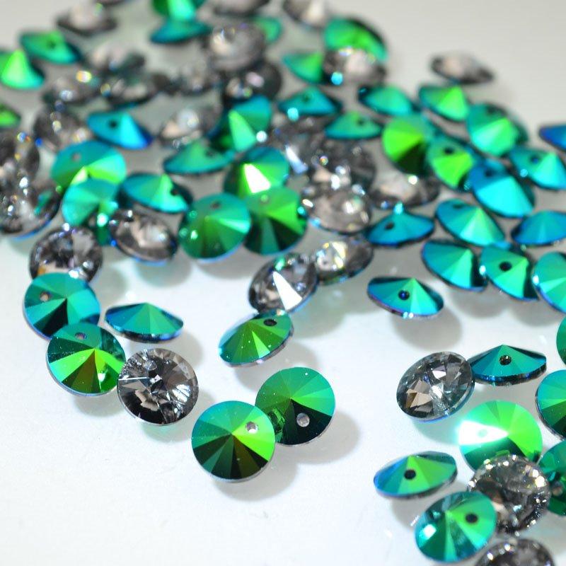 s46082 Swarovski Pendant - 6 mm Xilion Rivoli Drops (6428) - Crystal Scarabaeus Green (1)