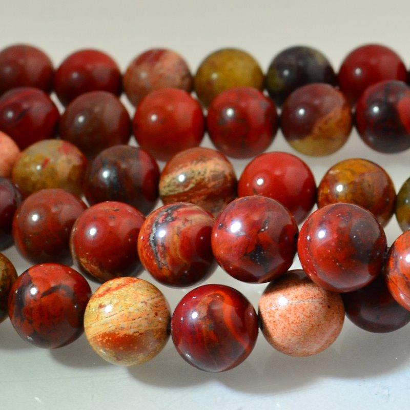 s46486 Stone Beads - 10 mm Round - Apple Jasper (strand)