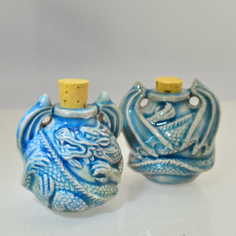 s46564 Ceramic Vessel / Bottle Pendant -  Curled Dragon - Raku (1)