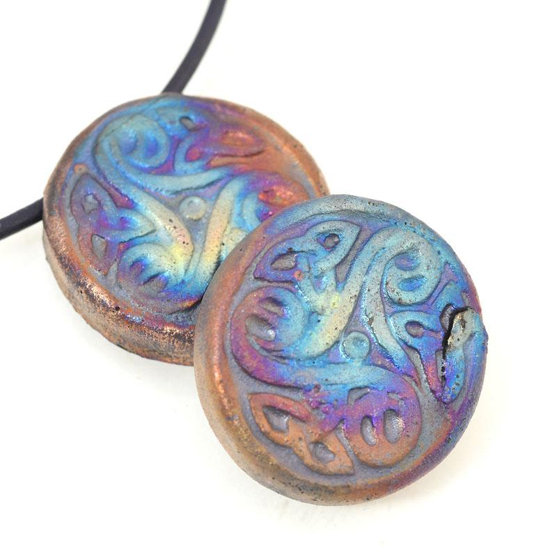 s46568 Ceramic Pendant -  Celtic Triskele Bead - Matte Raku (1)