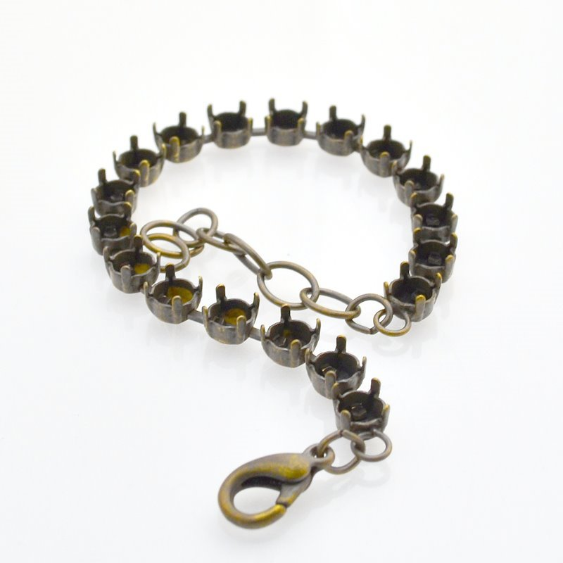 s46720 Findings - SS 29 Empty Cupchain Bracelet - Brass Ox