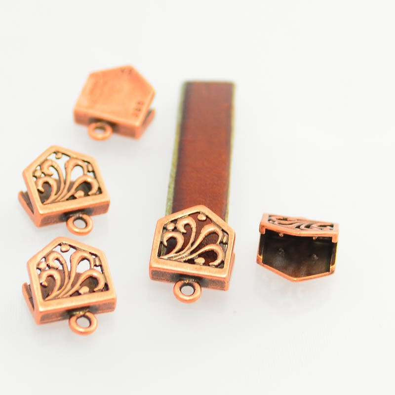 s46895 Findings - 10 mm Flat Leather - 10 mm Feather Fountain - End with Loop - Antiqued Copper (1)