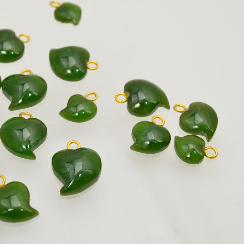 s47631 Stone -  Heart Leaf Cabochon Pendants - Jade (5)