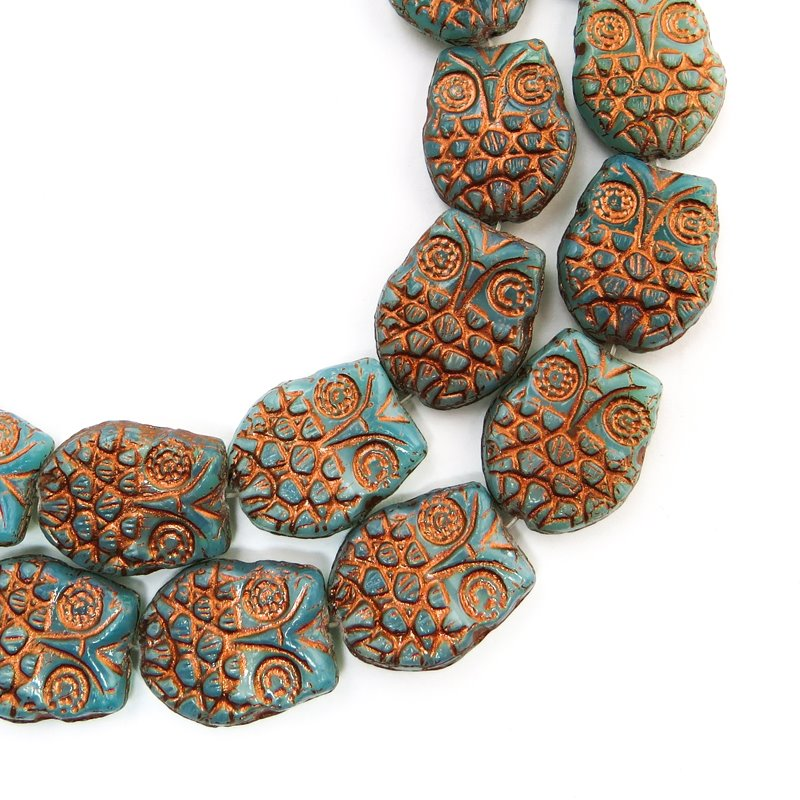 s47770 Glass Beads - Flat Owl - Coppered Turquoise (10)