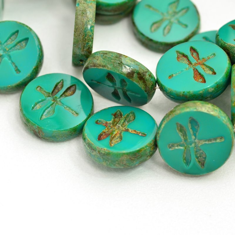 s47778 Pressed Glass - 18 mm Dragonfly Coin - Turquoise Picasso (5)