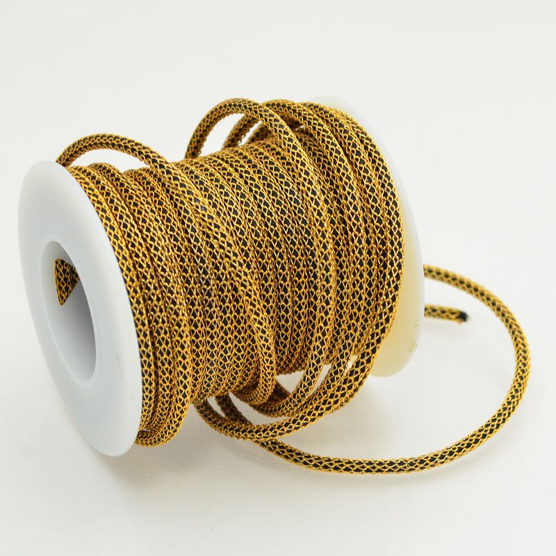 s47870 Silver Silk - Knitted Wire -  Capture Leather - Brass / Black (2 feet)
