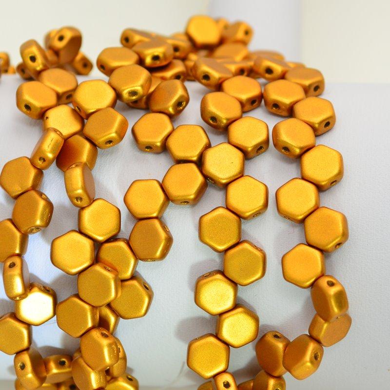 s47893 Czech Shaped Beads - 2 Hole Honeycombs - Matte Metallic Antique Brass (Strand of 30)