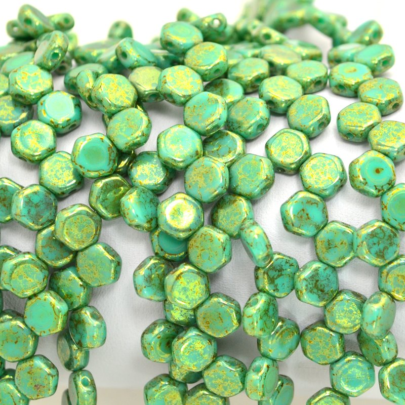 s47898 Czech Shaped Beads - 2 Hole Honeycombs - Green Turquoise Lumi (Strand of 30)