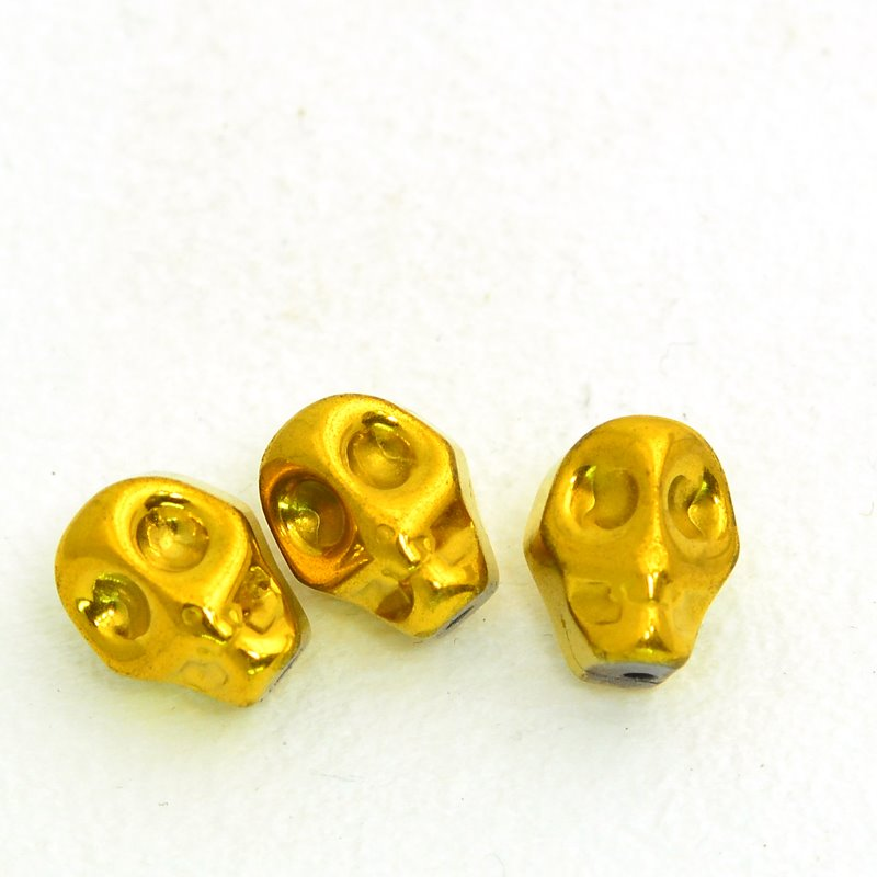 s47914 Stone Beads - 8 x 12 mm Skull - Gold Plated Hematite