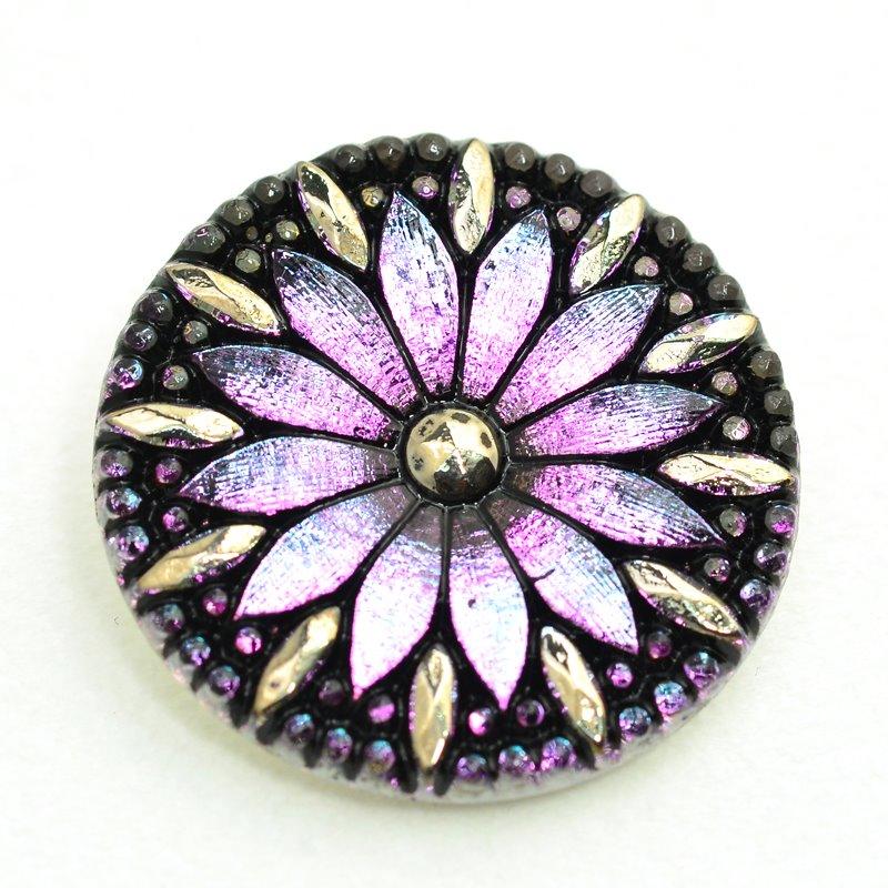 s47962 Button - 30 mm Zinnia Flower - Purple Aurora