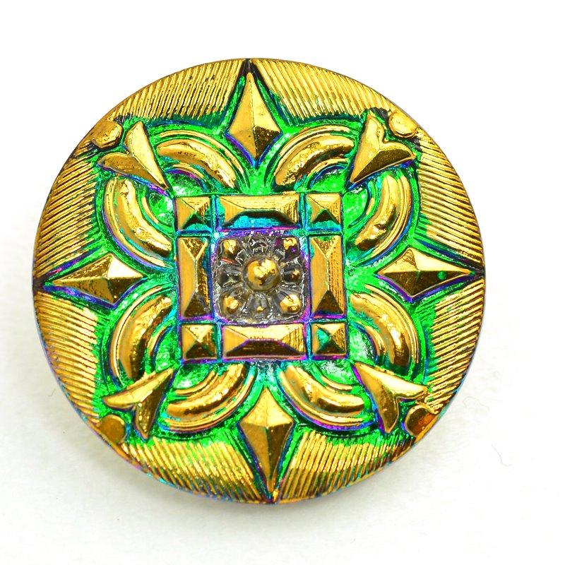 s47964 Button - 1 inch Star Square - Green Fire