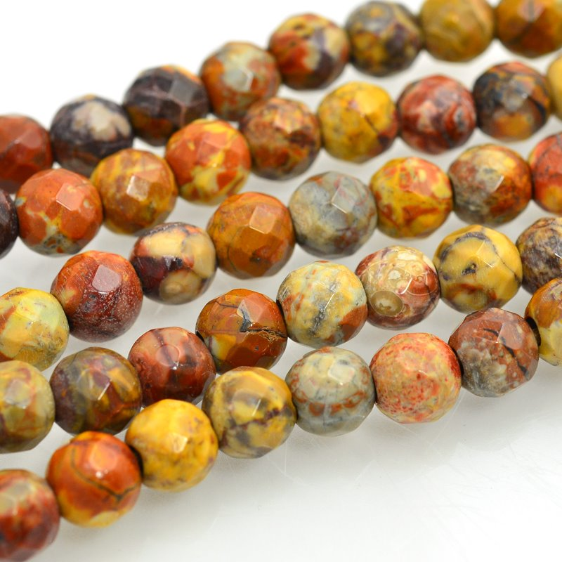 s47979 Stone Beads - 8 mm Big Hole Faceted Round - Birdseye Rhyolite