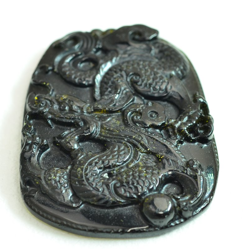 s48002 Stone Pendant -  Writhing Dragon - Golden Obsidian