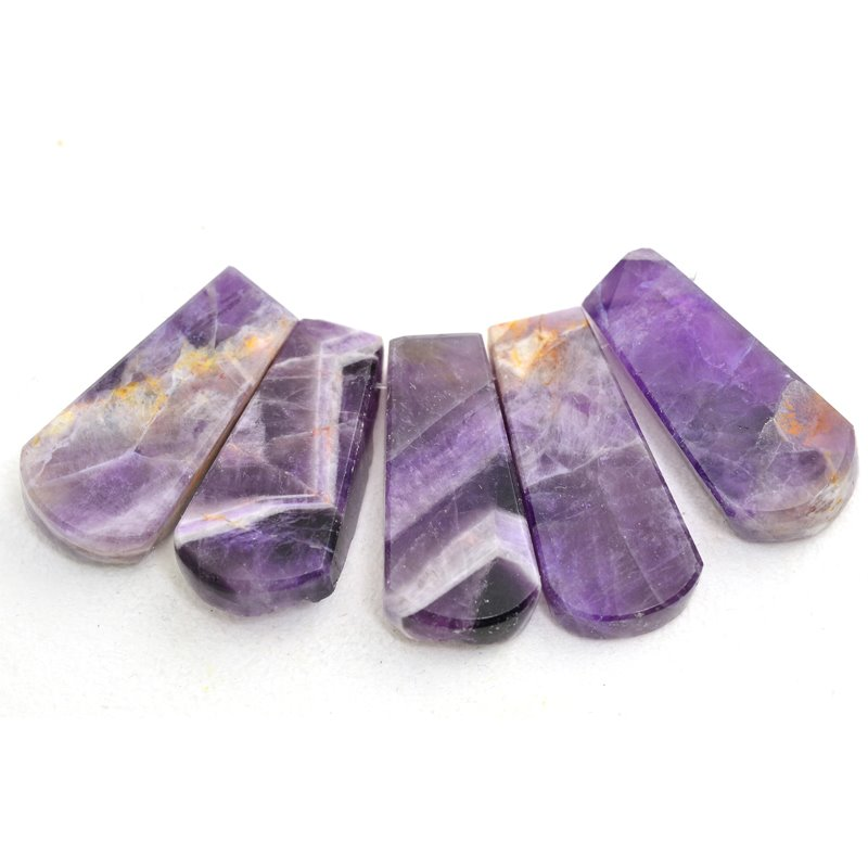 s48017 Stone Pendant -  Irregular Rough Fan Pendant Set - Dog Tooth Amethyst