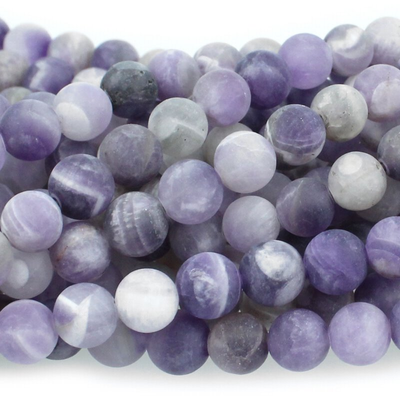 s48056 Stone Beads - 6 mm Round - Matte Dog Tooth Amethyst (strand)