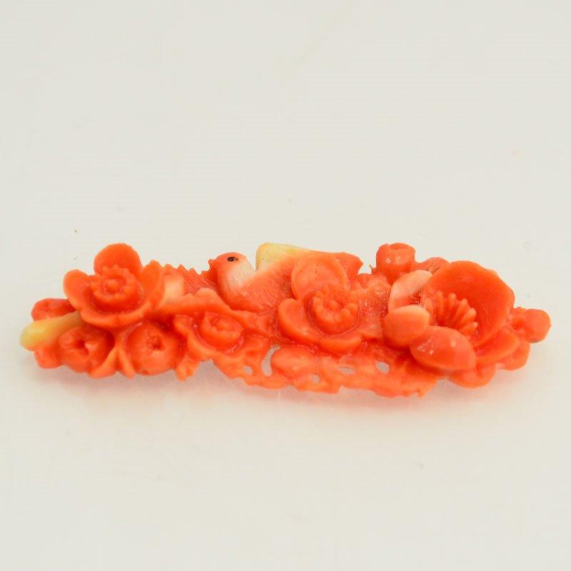 s48083 Vintage OOAK -  Carved Roses - Coral