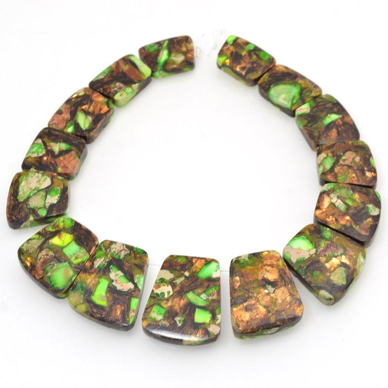 s48766 Stone Pendant -  Collar Set - Green Bronzite