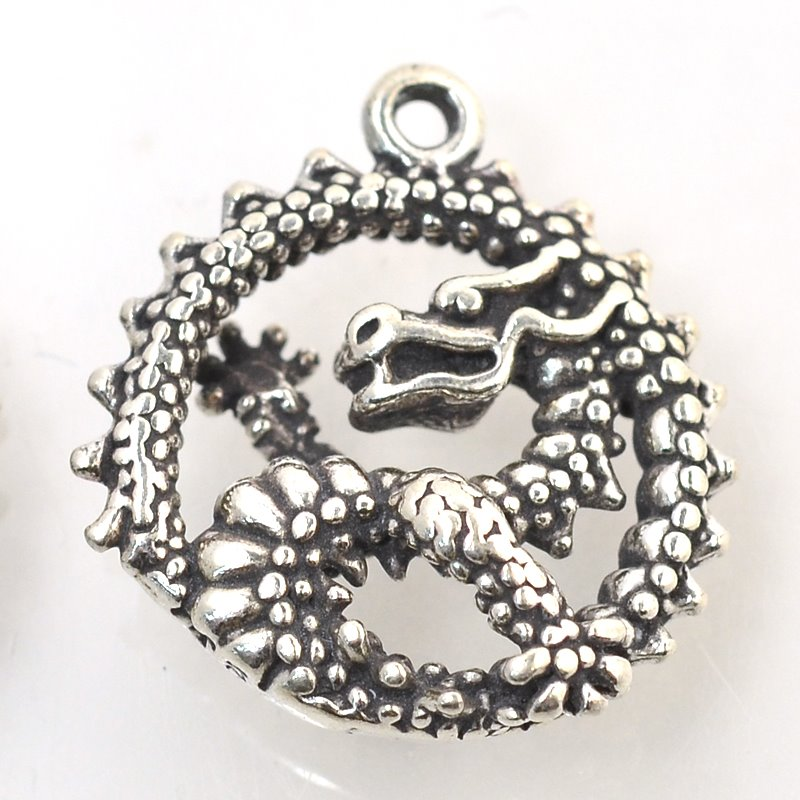 s48821 Charm/Pendant -  Ouroboros Dragon - Sterling Silver