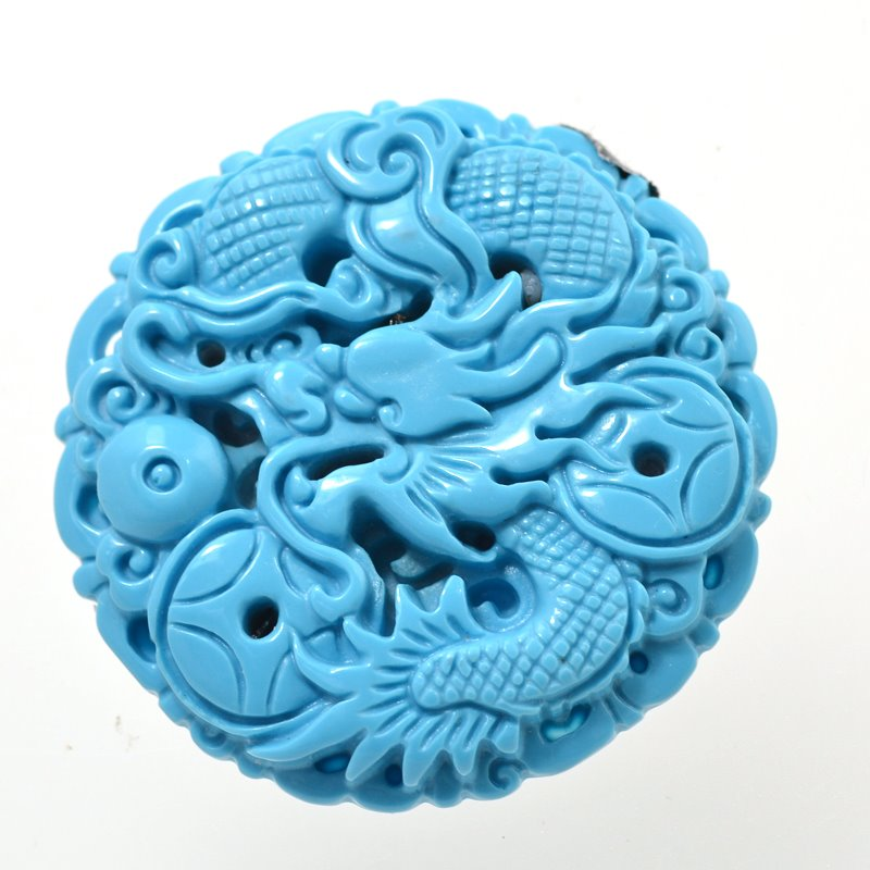 s48831 Stone Cabochon -  Carved Dragon Round Cabochon - Turquoise (Imitation)