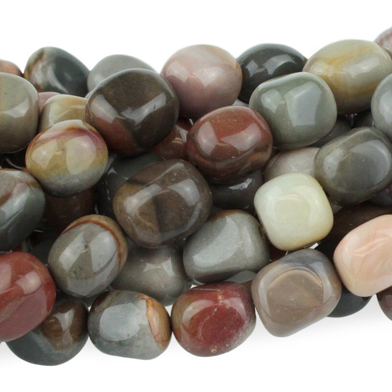s48868 Stone Beads - 8 x 10 mm Tumbled Nugget - Polychrome Jasper (strand)