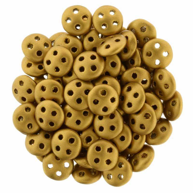 s48890 Glass Beads - Czechmates -  4 Hole QuadraLentils - Matte Metallic Antique Gold