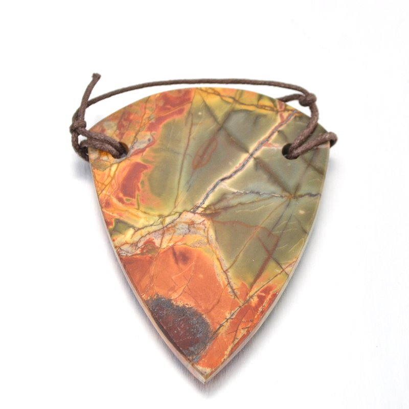 s48986 Stone Pendant - OOAK - 65 mm Sheild - Red Creek Jasper